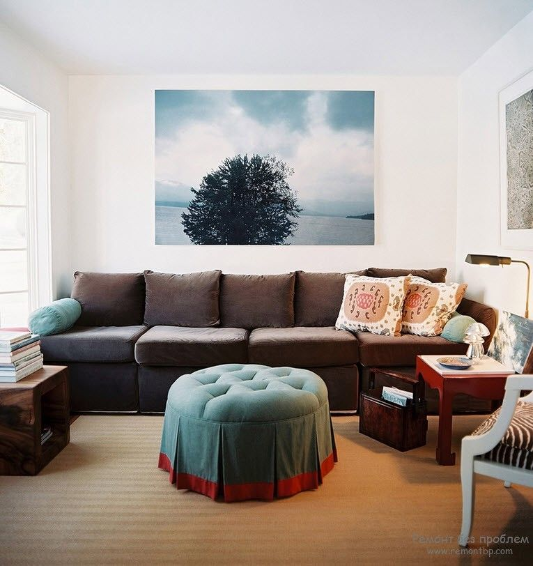 Modern Interior Pictures Placement Advice. Photoprint on the white wall