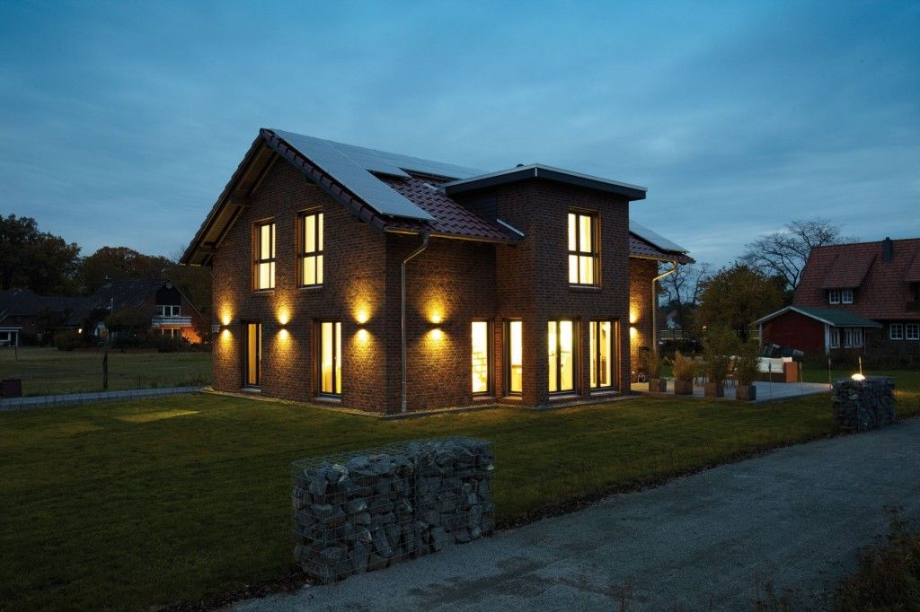 German Brick House Decorating Ideas. House in dusk