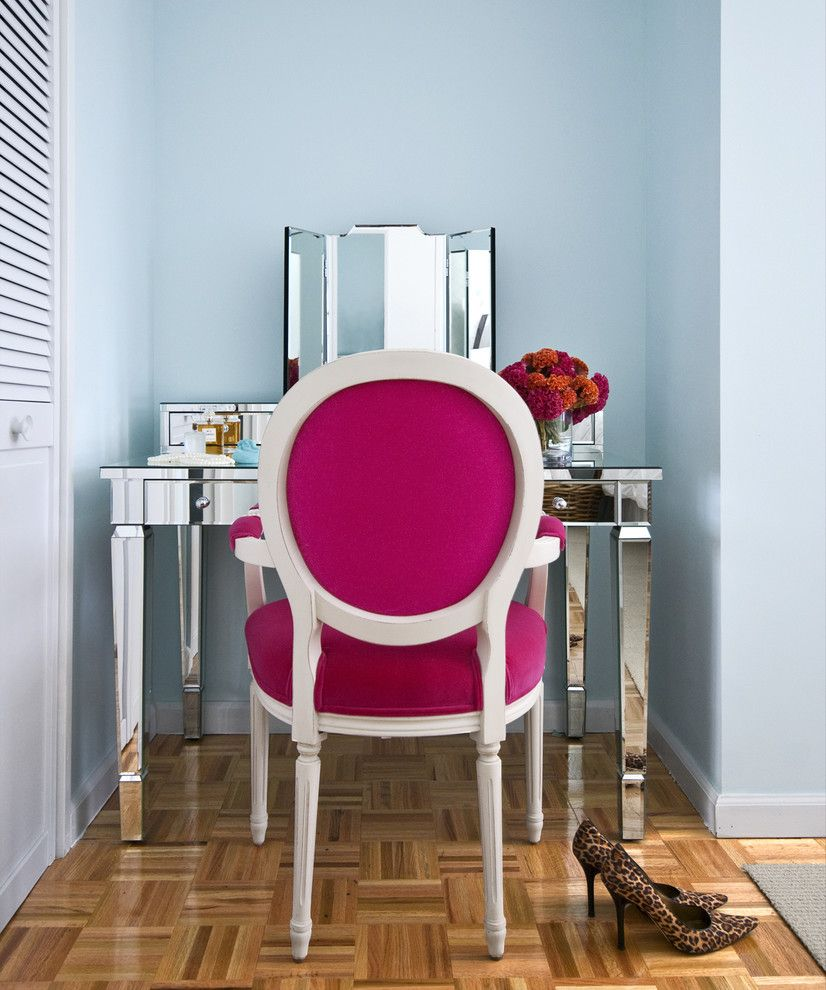 Fresh Advice Modern Small Condo Visual Expanding. Women`s boudoir with pink chair