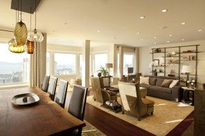 Spacious apartment natural lighting and spotlight scheme