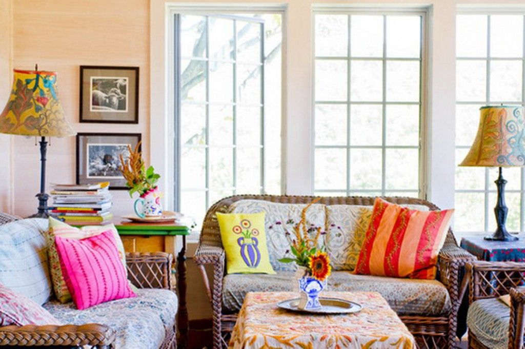 Bright embroidered living room design