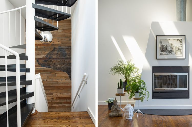 Living room and staircase at the wooden interior San Francisco apartment