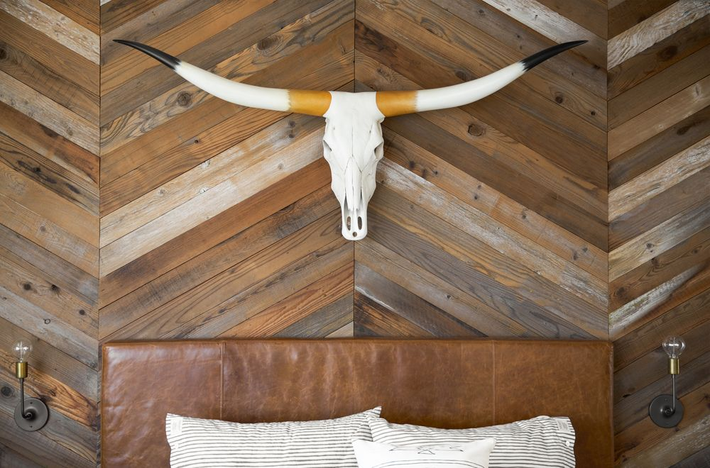 Skull and leather upholstered headboard
