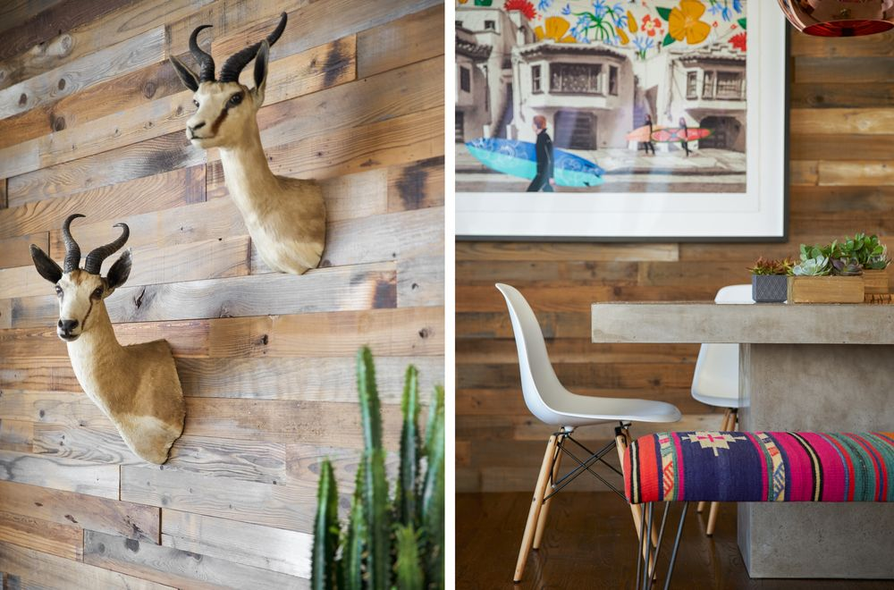 Stuffed roe deer heads and rustic plaid covered the wooden bench