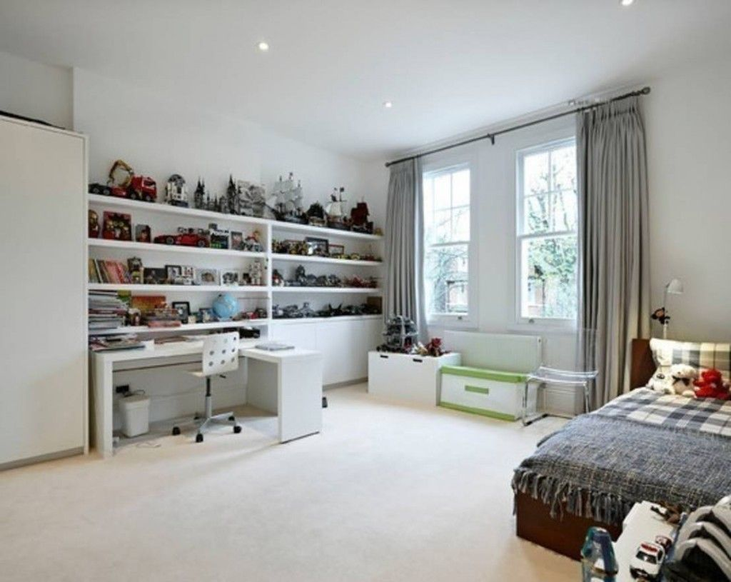 Сhildren`s Room Interior Design Ideas 2015. A lot of open shelves to accommodate all kids` stuff and personal things