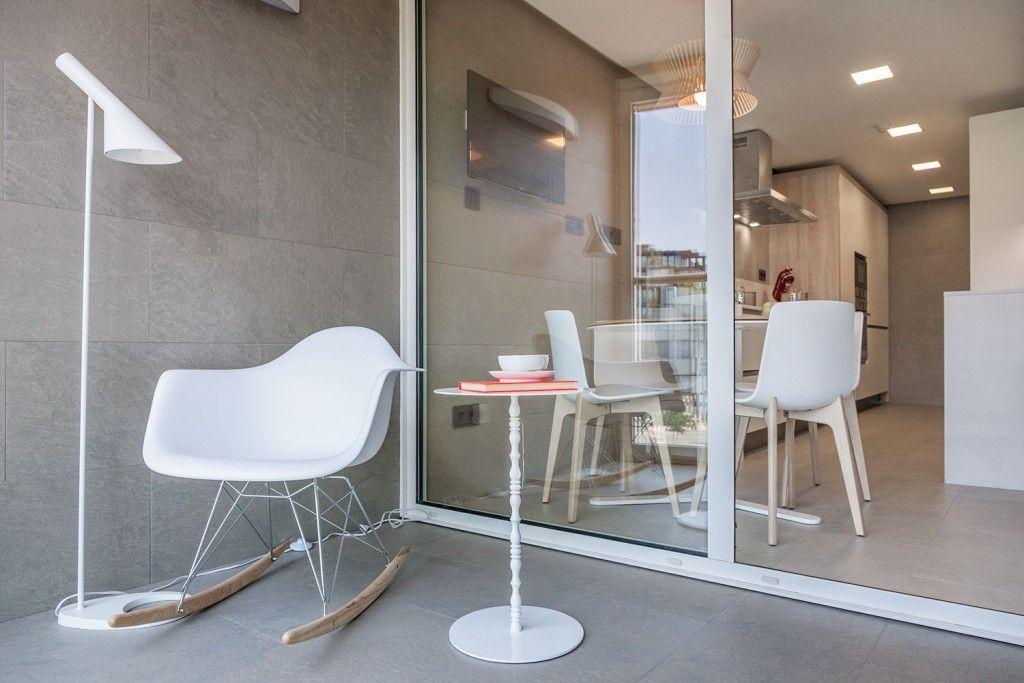 Modern Spanish Apartment Interior Design Ideas Examples. Loggia`s trimming in thу modern hi-tech style