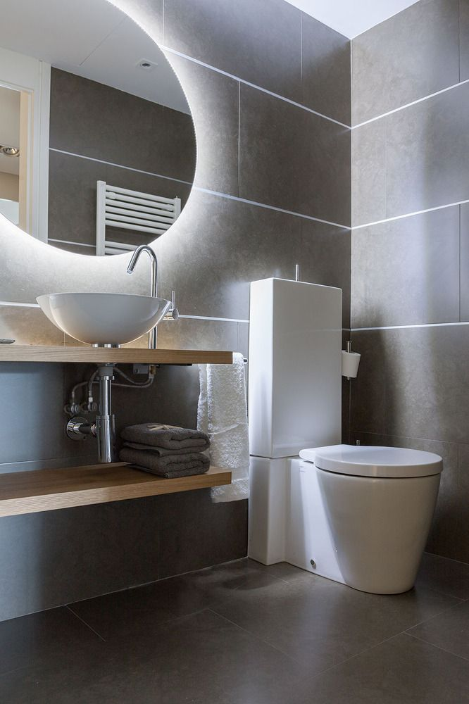 Diode lightinh makes interior of the bathroom more mystic but transcendentially warm