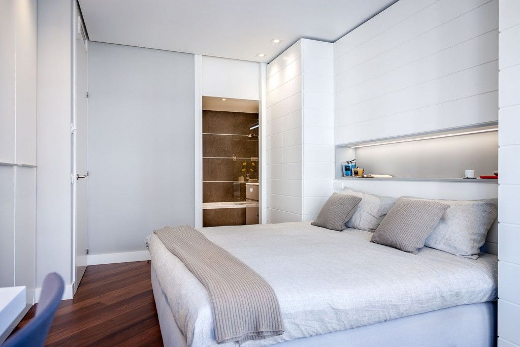 Modern Spanish Apartment Interior Design Ideas Examples. White and gray bedroom