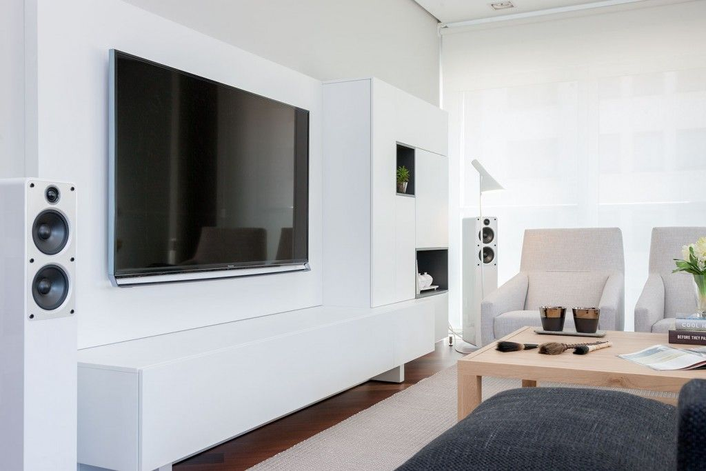 Modern Spanish Apartment Interior Design Ideas Examples. Music section with large LED TV-screen