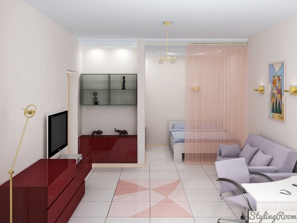 Modern Living Room Zoning Methods Collection. Bed behind the curtain