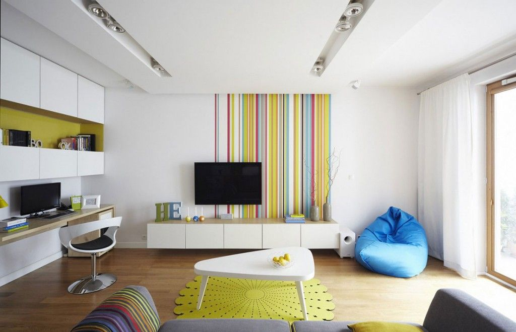 Modern Living Room Zoning Methods Collection. Wallpaper print attracts to the game zone