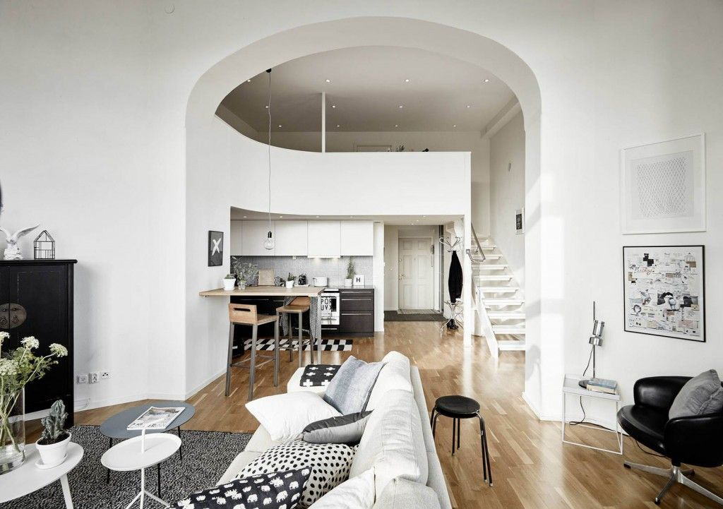 Modern Living Room Zoning Methods Collection. Arch as the main object