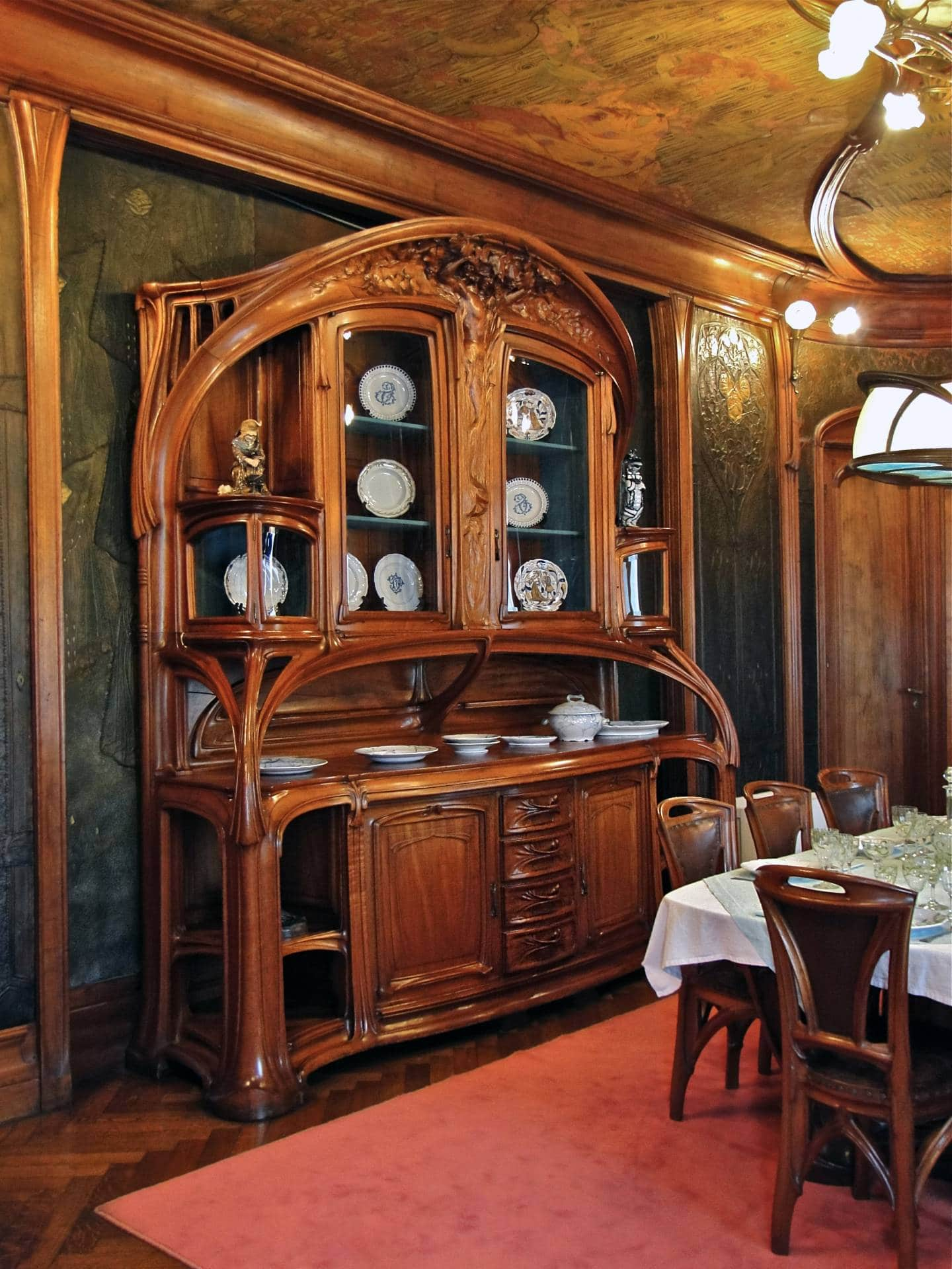 Art Nouveau Interior Design Style. Ancient chest of drawers made of solid wood