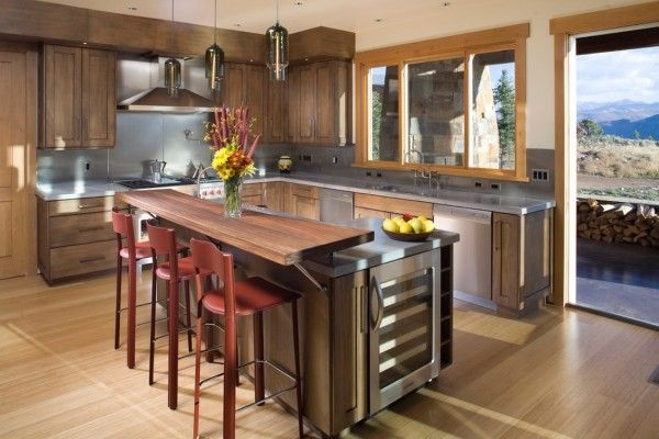 Modern Bar Counter Kitchen Design Ideas. Double countertop in strict corresponding with bar stools height