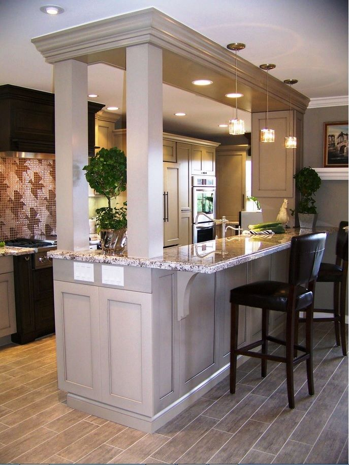 Modern Bar Counter Kitchen Design Ideas. Island layout of the kitchen with bar counter