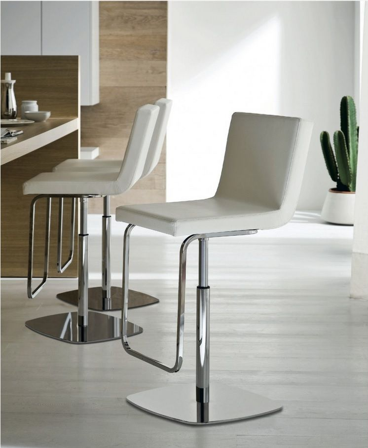 Bar Stools Decorating Bar Counter Kitchen Layout. White leather and chrome laeg model with leg rack