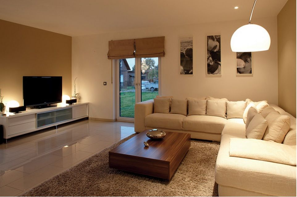 German Brick House Decorating Ideas. Rest Zone With TV And Complex Lighting
