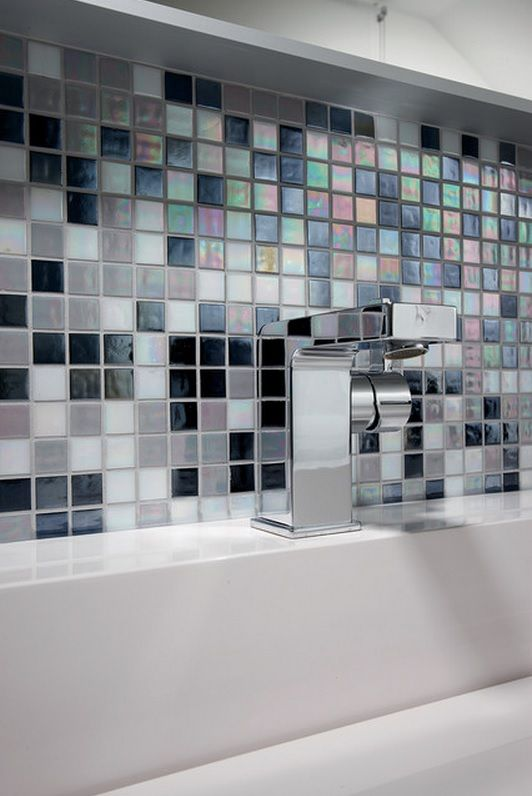 German Brick House Decorating Ideas. Unique mosaic tile and quadratic design of the bath tap