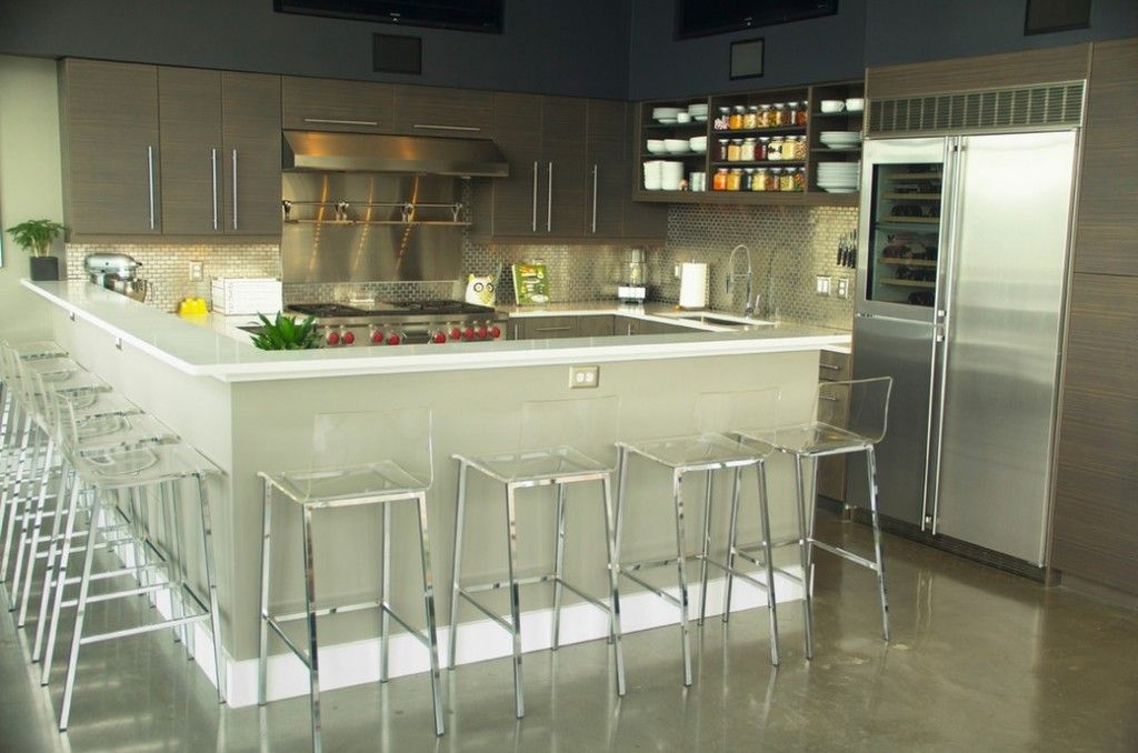 Bar Stools Decorating Bar Counter Kitchen Layout. Spacious room of the kitchen looks airy with abundance of glass stools