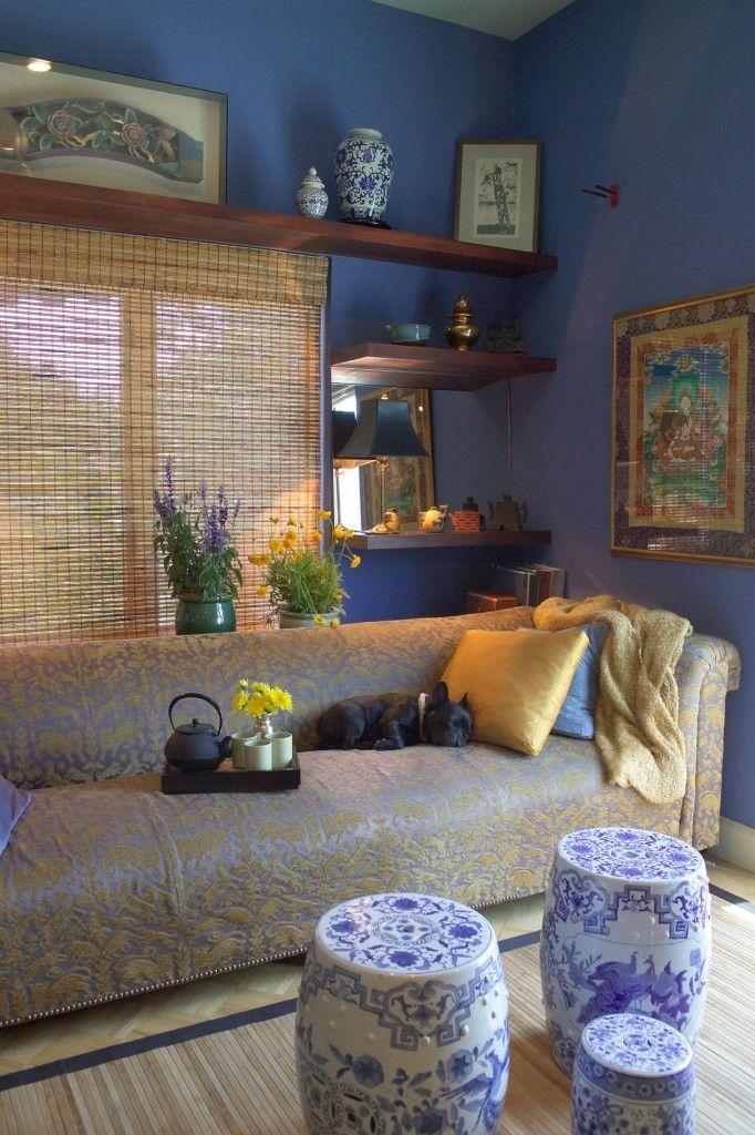 Fresh Advice Modern Small Condo Visual Expanding. Unusual blue upholstered ottomans