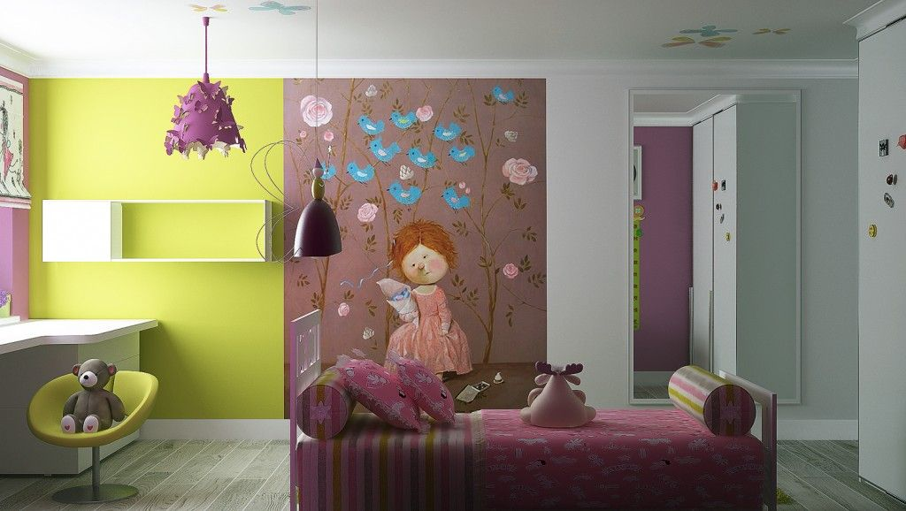 Modern Interior Pictures Placement Advice. Famous children`s artist from Ukraine painted the wall