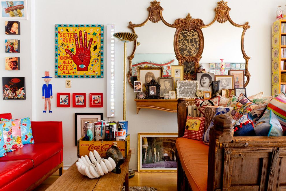 Funky diy eclectic interior of the colorful living with lots of stuff