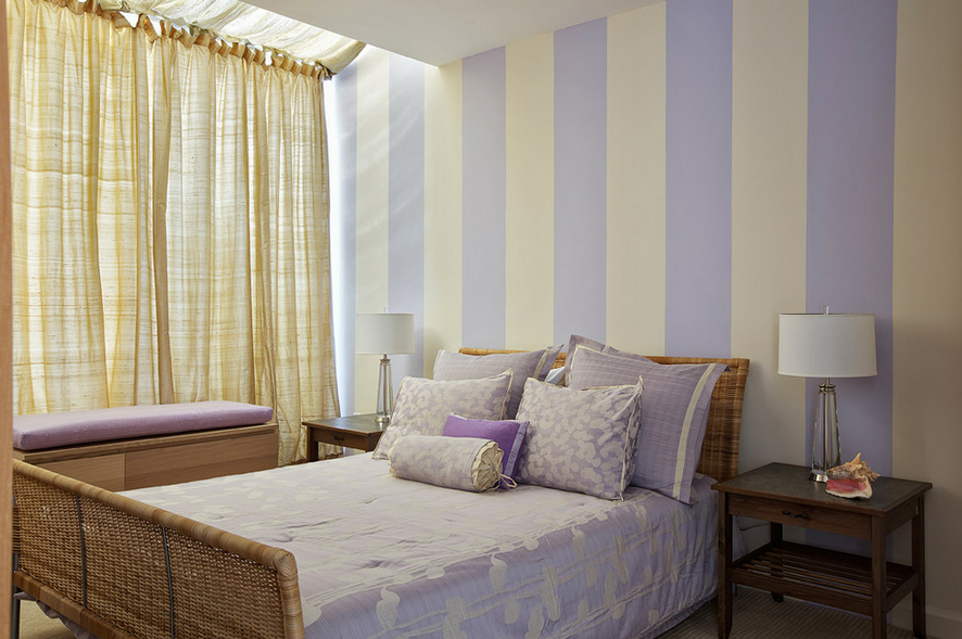 Fresh Advice Modern Small Condo Visual Expanding. Bedroom with striped wallpaper