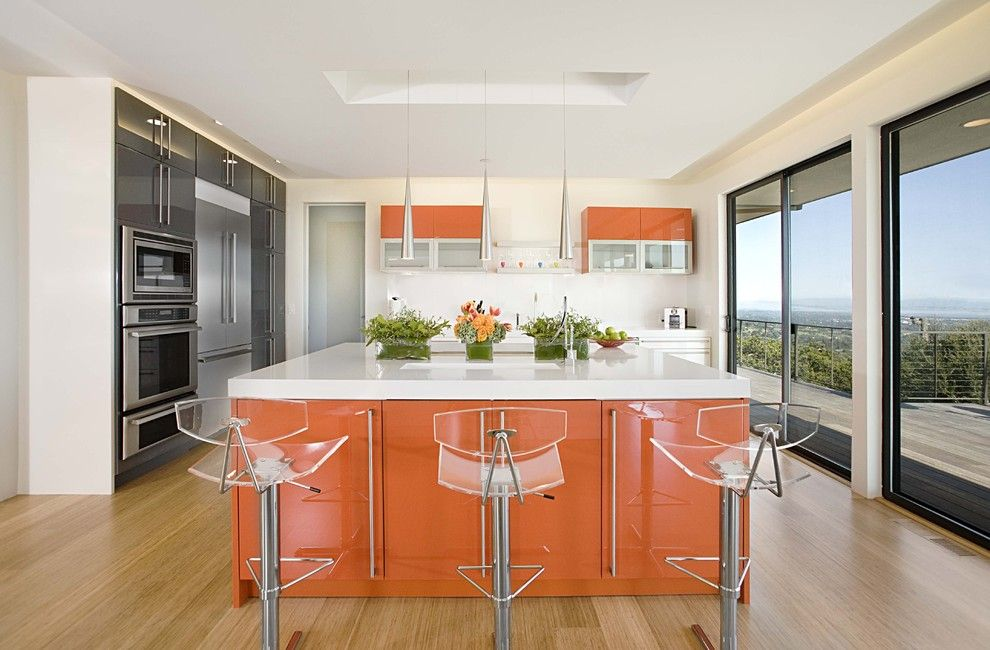 Bar Stools Decorating Bar Counter Kitchen Layout. orange lightweight interior with transparent chairs