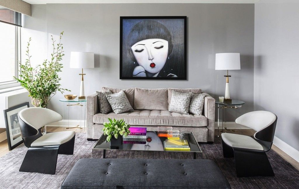 Modern Interior Pictures Placement Advice. Large Painting set the Eclectic style in the living room interior