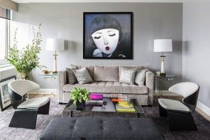 Modern Interior Pictures Placement Advice. Large Painting sets the Eclectic style in the living room interior