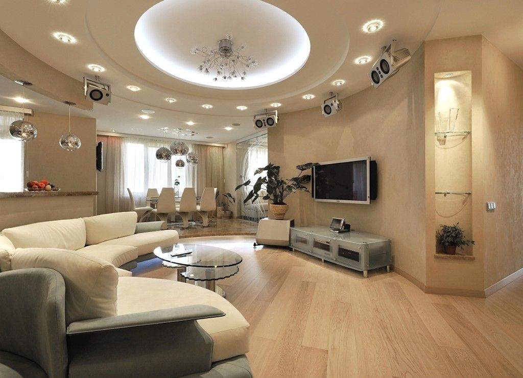 Living Room Lighting Placement Schemes in the luxurious light wooden rounded room interior