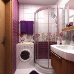 Modern Small Studio Apartment Space Increasing Methods. Small tiled bathroom with washing machine and shower stall in two main colors