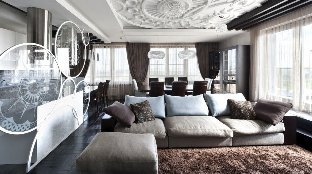 Modern Living Room Zoning Methods Collection. Complex ceiling for the zoning of premises
