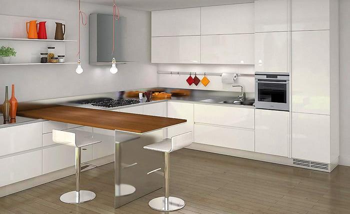 Minimalist kitchen with wooden bar