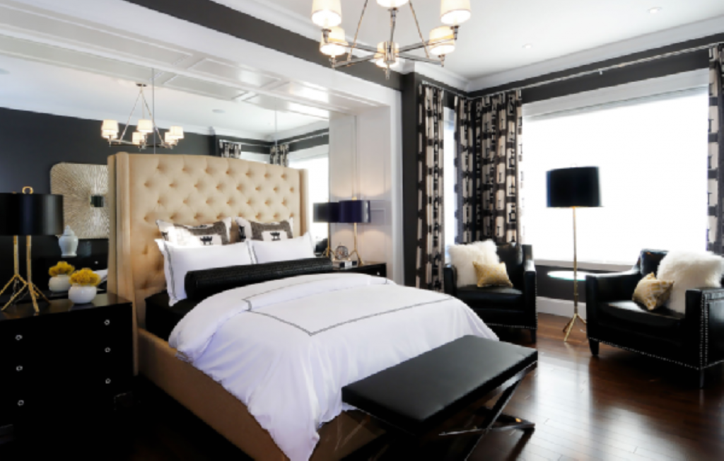 Proper Bedroom Interior Lighting Schemes Photos of the black contrasting trimming