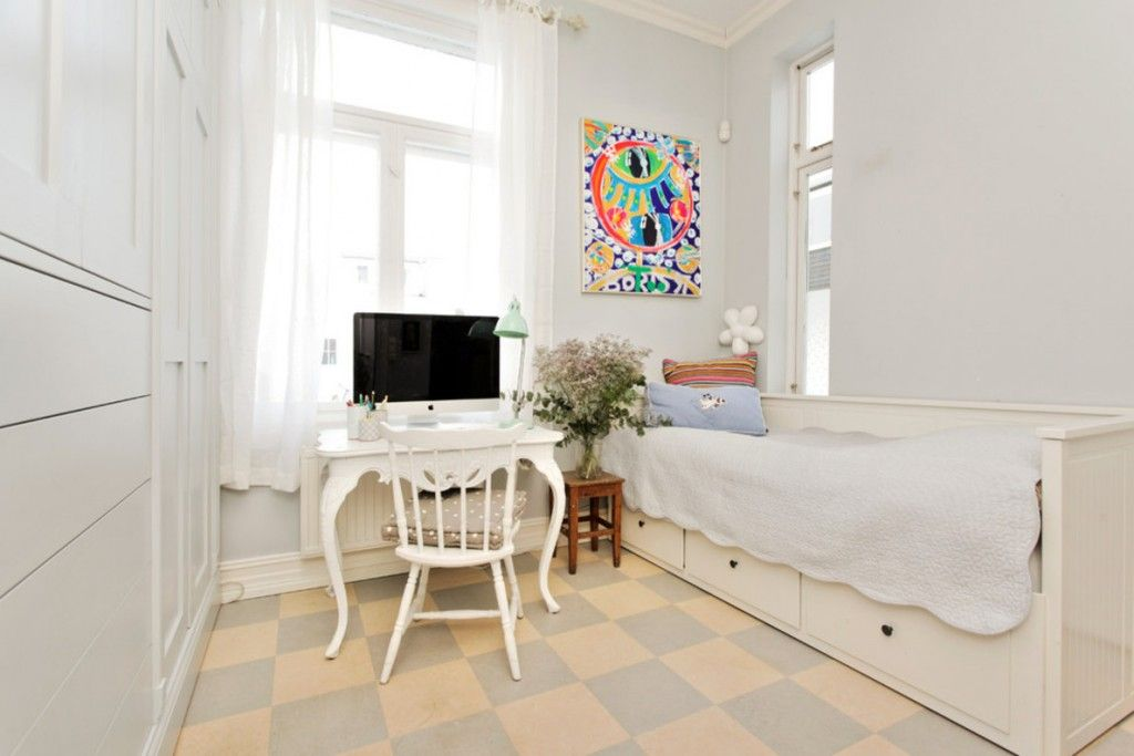 Fresh Advice Modern Small Condo Visual Expanding. Bright colorful contrasting wall picture