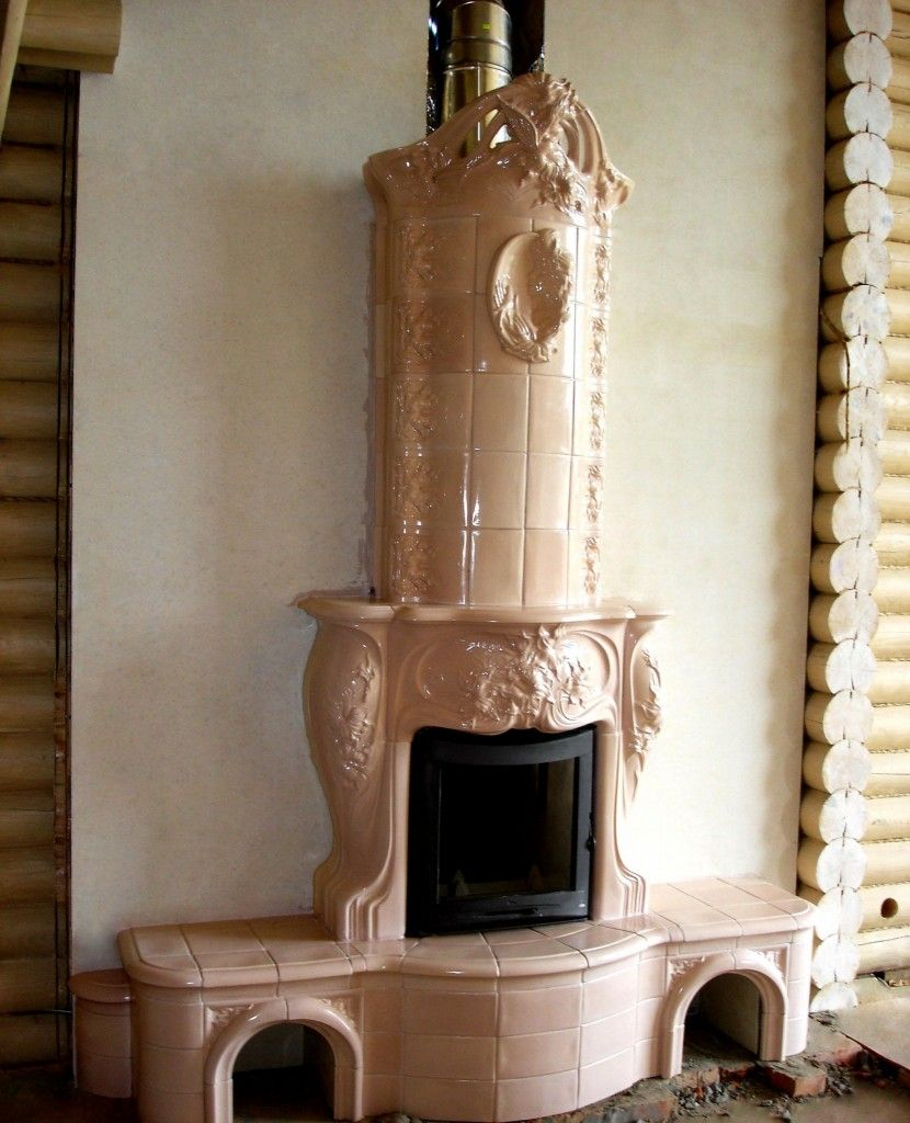 Modern Interior Fireplace Main Type. Tiled Russian one