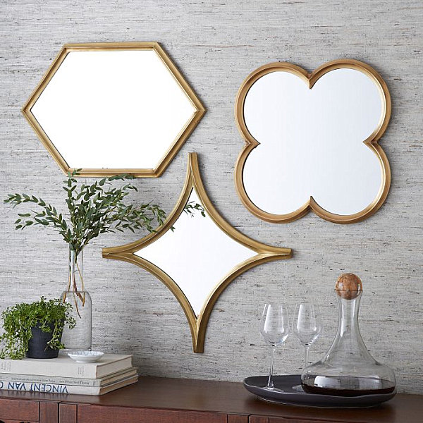 Mirrors of different form for decorative purposes