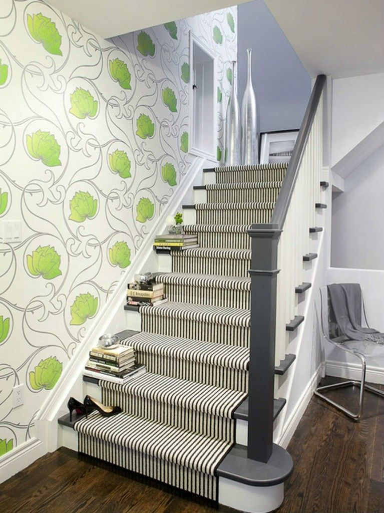 Staircase Modern Constructions Types Design. Closed type of the one run stairway of wood with carpet