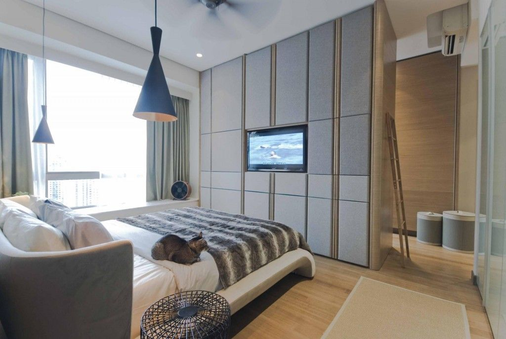 Bedroom Interior Furniture Set Programme Ideas. Finctional storage wall for the small cabinets and shelves made monolith