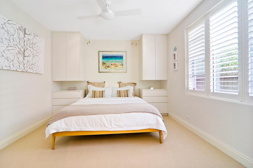 Bedroom Interior Furniture Set Programme Ideas. White calming interior and the wooden bed with hanged storage systems