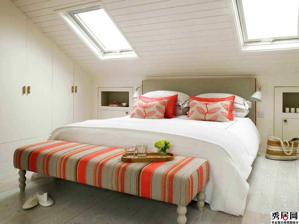 Bedroom Interior Furniture Set Programme Ideas. Striped bed bench in the premise with sloped ceiling