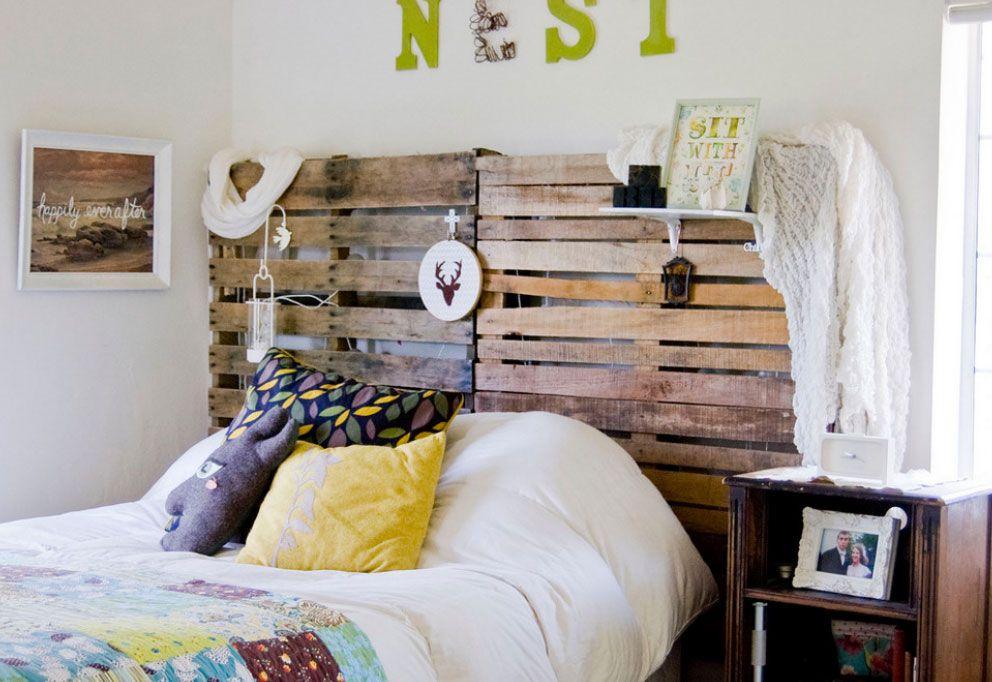 Bed Headboard Decoration Methods: Photos & Tips. Boho style lattice headrest design