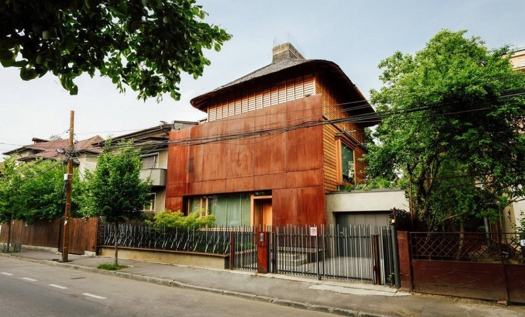 Romanian Private House Green Eco Design. Two-floor modest dwelling. Street view
