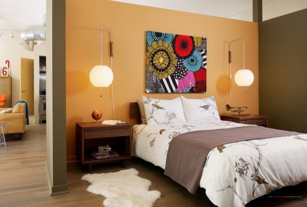 Headboard Wall Bedroom Interior Picture Placement Advice. Wall lamp to highlight abstract painting