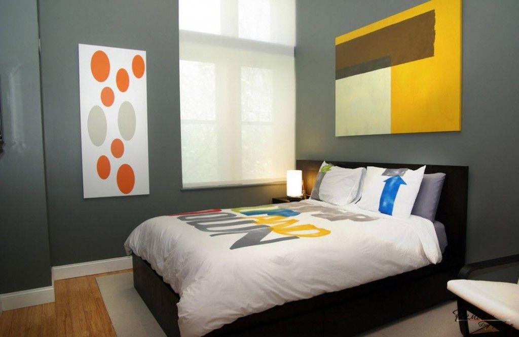 Headboard Wall Bedroom Interior Picture Placement Advice. Abstract painting in the abstract eclectic interior