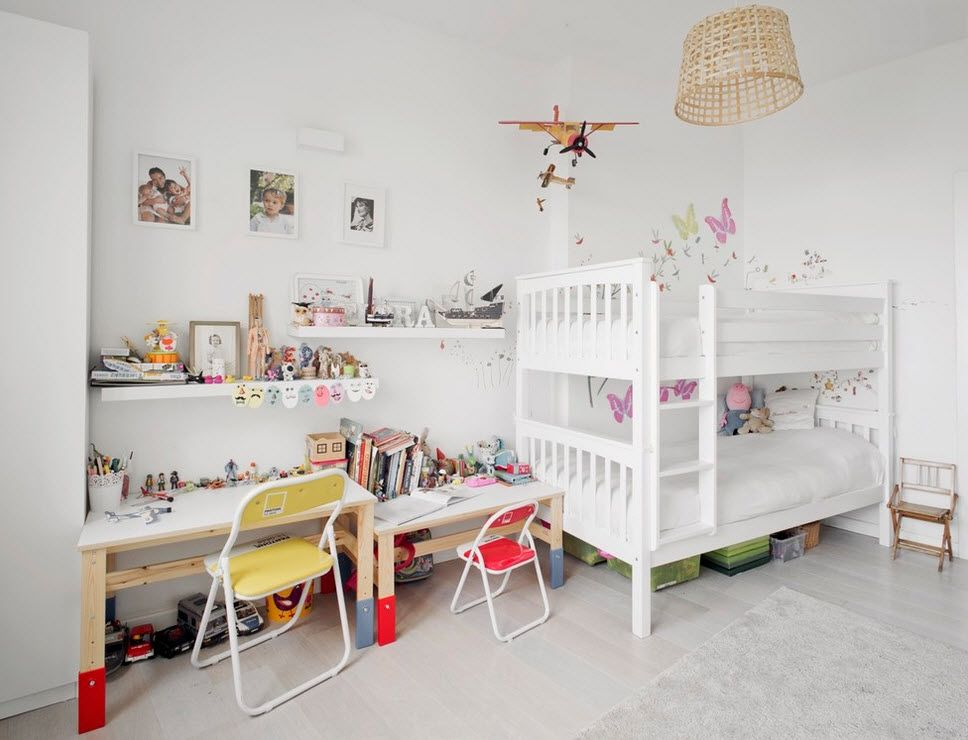 Italian Oceanside House White Modern Interior Design. Beuatiful kids` room design in snow white palette and bright spot accents with bunk bed and maximal functionality