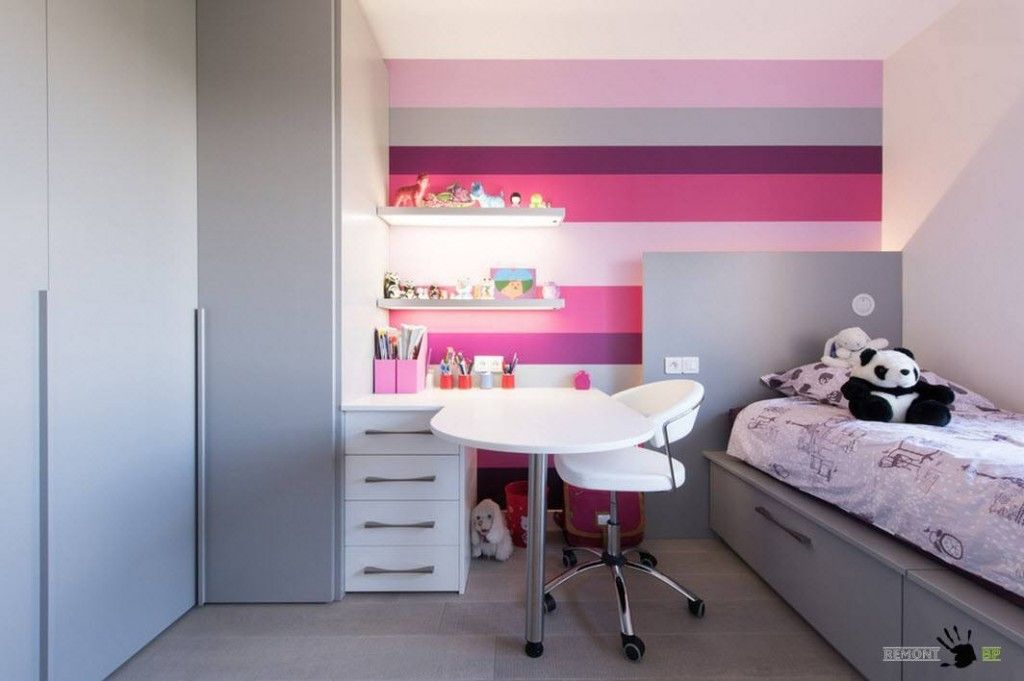 Kids` Room Furniture Selection Advice.  Colorful walls and contrasting white furniture