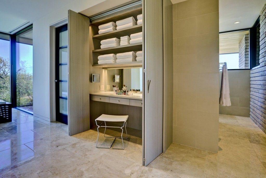 Women`s Personal Space: Boudoir Arrangement Ideas. Discrete woman`s room design with built-in boudoir to the cabinet