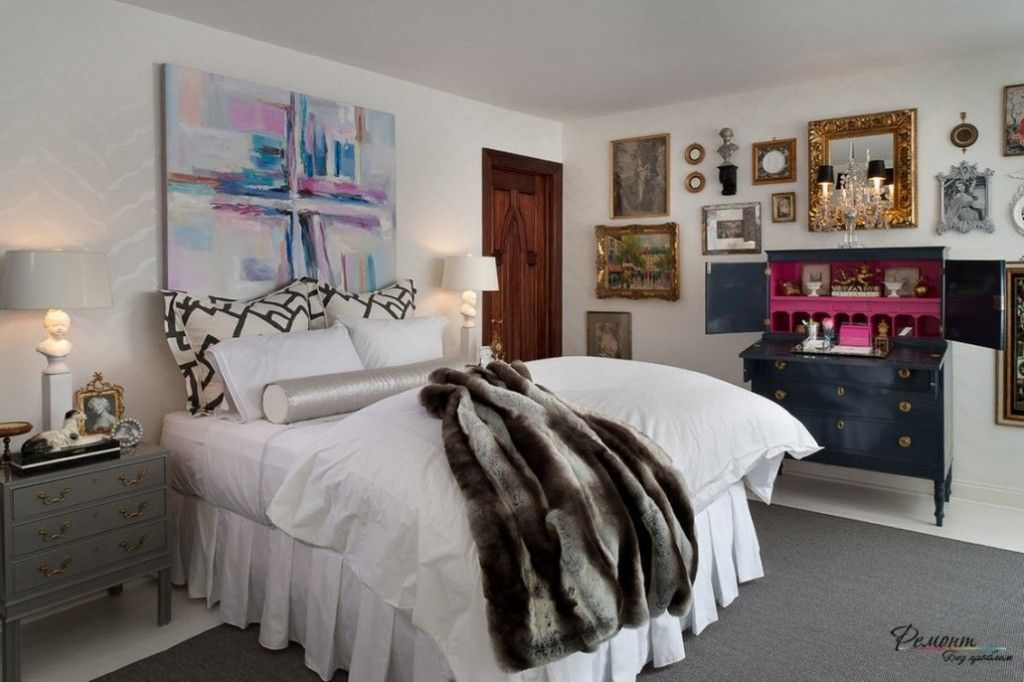 Headboard Wall Picture Placement Advice in Bedroom Interior. Low ceiling and royal bed in the youth atmosphere